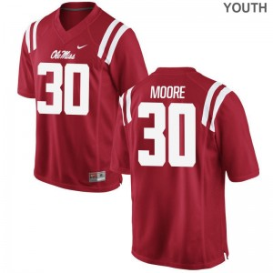Limited A.J. Moore Jerseys Youth Small Ole Miss Youth(Kids) Red