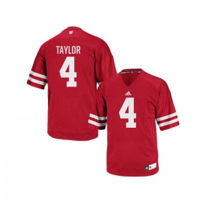 Mens A.J. Taylor Jersey Stitched Red Authentic Wisconsin Jersey