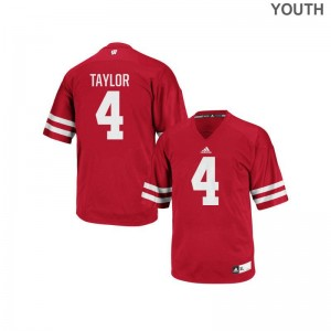 Wisconsin Badgers Youth(Kids) Red Authentic A.J. Taylor Jerseys Youth Small