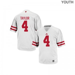 Kids Authentic Stitched Wisconsin Badgers Jersey A.J. Taylor White Jersey
