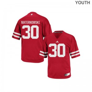 Aaron Maternowski Jersey Youth Large Wisconsin Badgers For Kids Replica - Red
