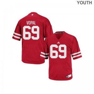 For Kids Aaron Vopal Jersey S-XL Wisconsin Badgers Authentic Red