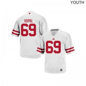 Aaron Vopal Wisconsin Badgers Jersey Medium White Youth(Kids) Replica