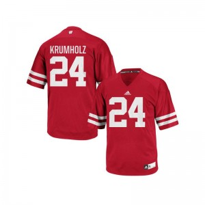 Adam Krumholz Mens Jerseys Wisconsin Badgers Replica Red