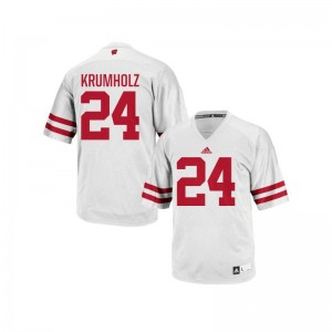 Wisconsin Replica For Men White Adam Krumholz Jerseys Large