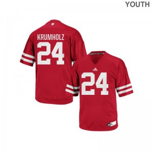Red Authentic Adam Krumholz Jerseys Medium For Kids Wisconsin Badgers