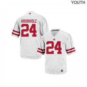 Authentic Adam Krumholz Jerseys Medium Wisconsin Badgers Youth - White
