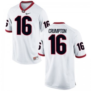 Georgia Men Limited White Ahkil Crumpton Jerseys Men Small