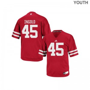 Red Alec Ingold Jerseys Youth Medium Wisconsin Badgers Authentic Youth(Kids)