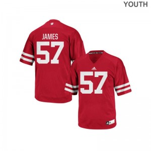 Alec James Jersey Wisconsin Badgers Red Replica Youth NCAA Jersey