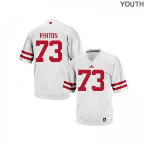 Youth(Kids) Alex Fenton Jersey Embroidery White Replica University of Wisconsin Jersey