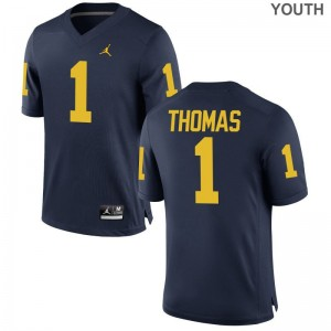 Ambry Thomas Youth(Kids) Jerseys Small Jordan Navy University of Michigan Limited