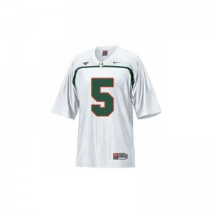 Miami Hurricanes Andre Johnson Jerseys X Large Kids Limited - White