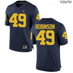 Michigan Limited Kids Jordan Navy Andrew Robinson Jerseys Youth Large