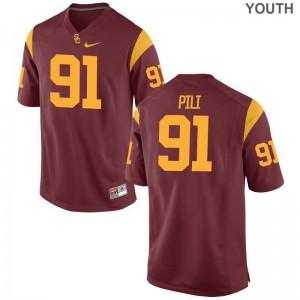 Limited Brandon Pili Jersey Medium Trojans Youth(Kids) White