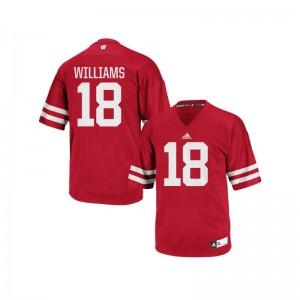 Authentic Red Caesar Williams Jersey S-3XL Men Wisconsin Badgers