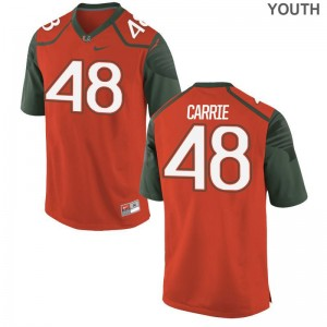 Limited Calvin Carrie Jersey Small Miami Hurricanes Orange For Kids