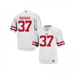 Wisconsin Badgers For Men White Replica Garrett Groshek Jerseys