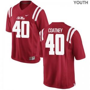 Limited Red Josiah Coatney Jerseys Medium Youth(Kids) Ole Miss Rebels