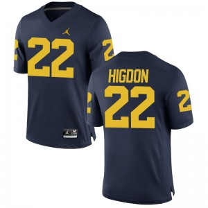Karan Higdon Michigan Wolverines Jerseys Medium Limited Jordan Navy For Men