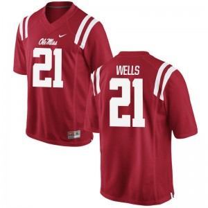 KeShun Wells For Men Jerseys Men Medium Ole Miss Limited Red