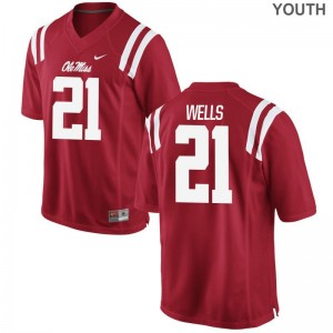 Limited For Kids University of Mississippi Jerseys S-XL of KeShun Wells - Red