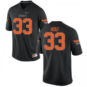 Limited Oklahoma State Cowboys Landon Wolf Men Black Jerseys 2XL