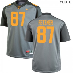 Logan Fetzner Tennessee Volunteers Jerseys Large Limited Gray For Kids