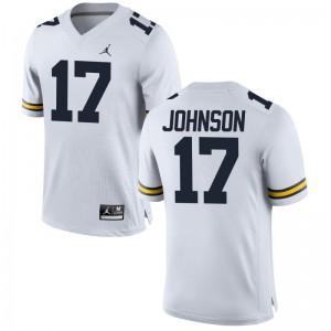Nate Johnson Men Wolverines Jersey Jordan White Limited Jersey