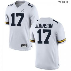 Michigan Limited Nate Johnson Youth(Kids) Jordan White Jersey XL