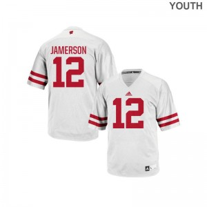 Wisconsin Official Natrell Jamerson Authentic Jerseys White Youth(Kids)