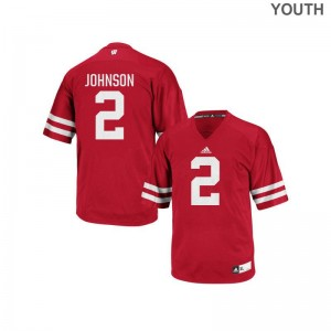 Wisconsin Patrick Johnson Jersey Stitched Youth(Kids) Replica Red Jersey