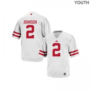 For Kids Patrick Johnson Jersey White Replica Wisconsin Badgers Jersey
