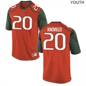 Youth(Kids) Robert Knowles Jerseys Youth XL Miami Hurricanes Limited - Orange