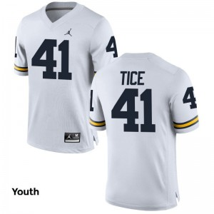 Ryan Tice Youth Jordan White Jerseys Medium Limited Michigan