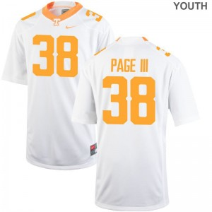 Youth Medium Vols Solon Page III Jerseys Official Kids Limited White Jerseys
