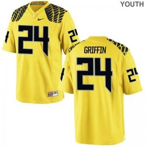 Oregon Ducks Taj Griffin Jerseys S-XL Limited For Kids Jerseys S-XL - Gold
