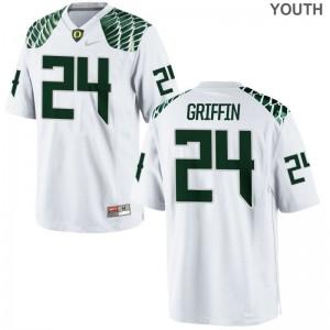 White Limited Taj Griffin Jerseys Large Youth(Kids) Oregon Ducks