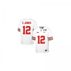 Cardale Jones Limited Jersey For Kids Ohio State Buckeyes #12 White Diamond Quest 2015 Patch Jersey