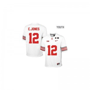 Cardale Jones Ohio State Jerseys XL #12 White Diamond Quest National Champions Patch Youth Limited